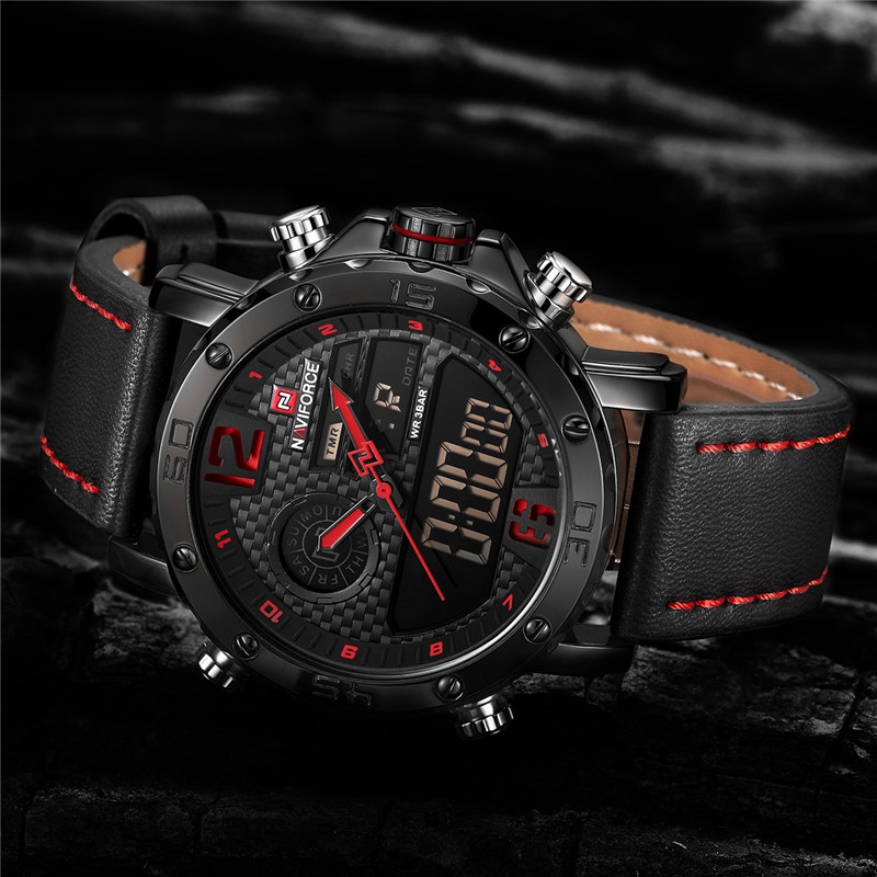 2018 Watches Mens Top Brand Luxury Military Army Leather Band Analog LED Quartz Male Clock New Men Digital Sport Watch NAVIFORCE naviforce men watch digital analog sport mens watches top brand luxury military stainless steel led quartz male clock box 9093
