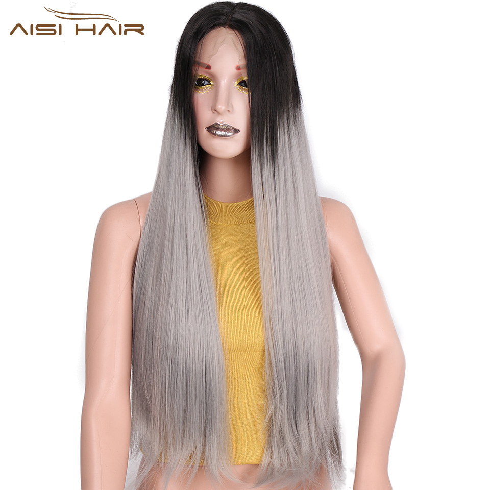 Is a wig 26 inch Ombre Grey Wig and Brown Straight Synthetic Front Lace Wigs for Women Black head Baby and Braided Hair