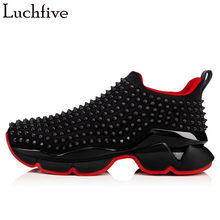 Fashion Studded Rivets Men Shoes British Style Round Toe Slip On Runaway Leisure Outwear Black White Hot Wedges Shoes(China)