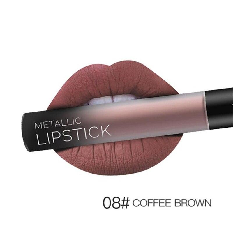 NEW 24 Colors Long Lasting Metallic Lip Gloss Red Velvet Matte Nude Liquid Lipstick Cosmetic Lips Makeup Women Gift Maquiagem 19