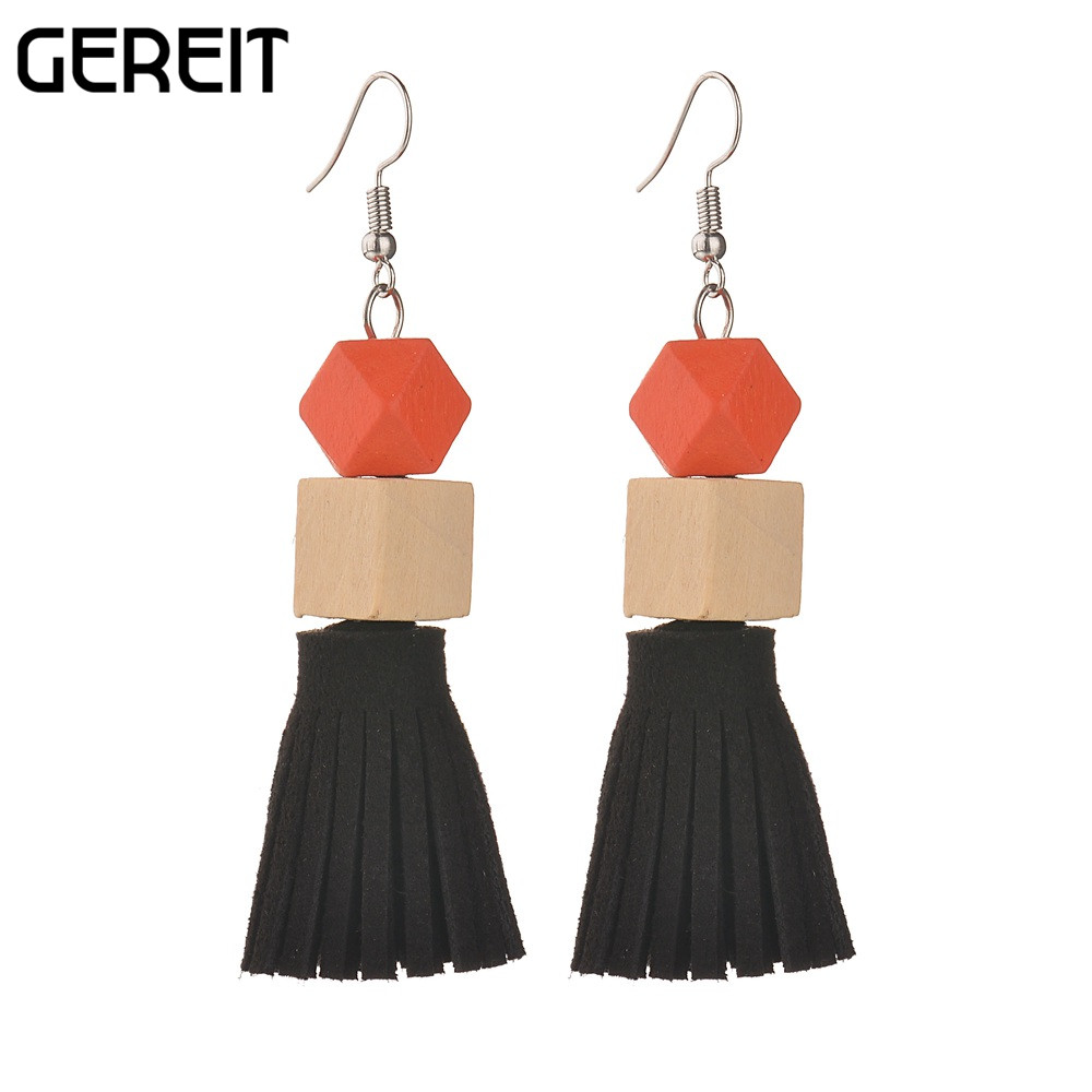 GEREIT New Retro Jewelry Geometric Wood Tassel Drop Earrings For Ladies Long Ethnic Earrings Seven Colors Daily Life Accessories
