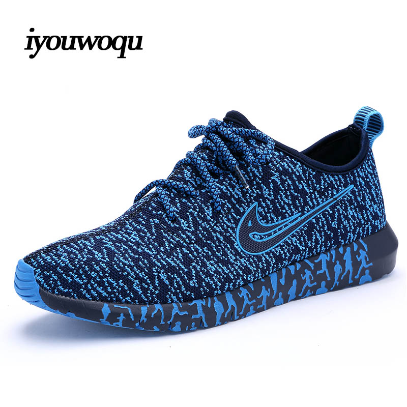 Running Shoes: Cheap Top Quality 2016 Men Running Shoes Knitted Breathable Mesh Outdoor Sport Shoes Student Sneakers Men shoes Gray Black blue