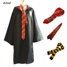 Hogwarts School Hermione Ties Scarfs Robes Cloaks Cosplay Costumes Gryffindor Clothes Mantle Hufflepuff Capes for Men Women Kids(China)