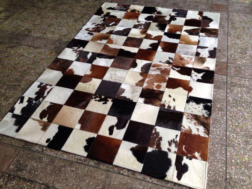 Natural Cowhide Fur Rug Real Leather Cowhair Carpet Cow