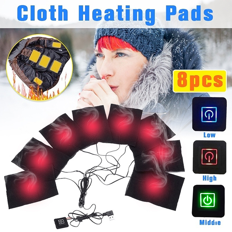 8 in 1 Heating Pad Electric USB Jackets Clothes Heating Pad Carbon Fiber Heater For Winter Warmer Clothes Heater|Outdoor Tools| |  - title=