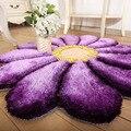 Lanskaya 3d flor de poliéster redondos shaggy carpet mats para casa sala de estar de casamento floral