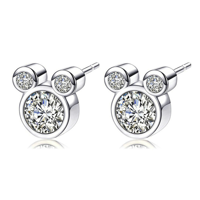 Sparkling Silver Cute Mickey Stud Earrings For Women Brincos Austrian  Crystal Pandora Earrings Wedding Party Jewelry