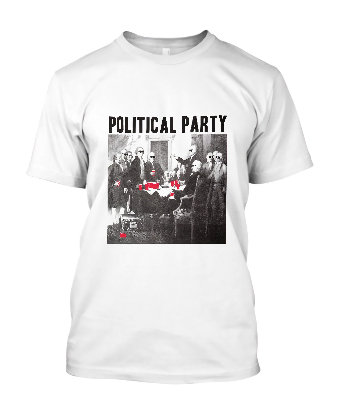 New Political Party Shades & Red Short Sleeve Mens White T-Shirt Size S To 3XL T Shirt Men Tees Brand Clothing Funny