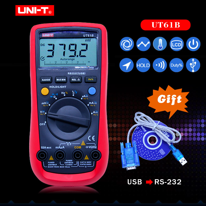 UT61B UNI-T Digital Multimeter Auto Range RS232 USB PC Software Data Hold Temperature Auto Power Off Best Accuracy 1% Multimetro цена