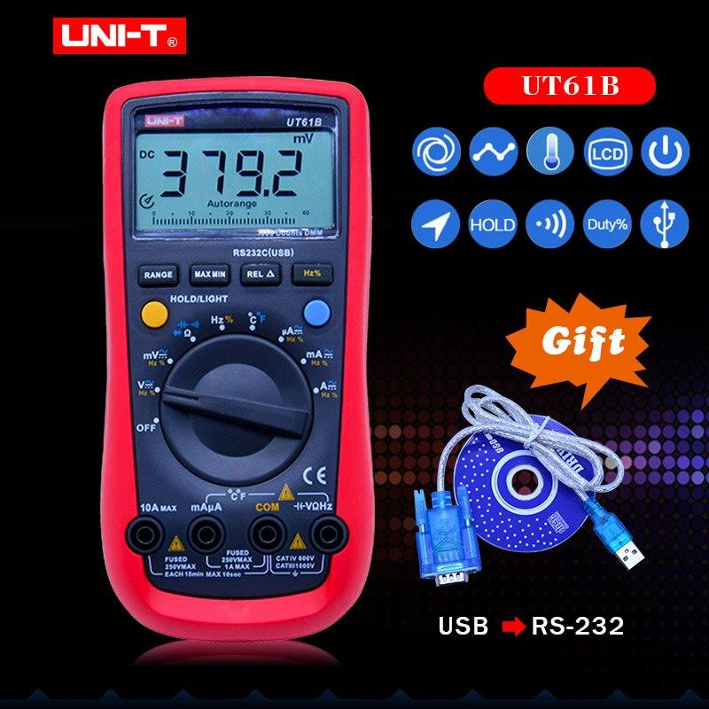 UT61B UNI-T multimètre numérique gamme automatique RS232 USB PC logiciel données maintien température arrêt automatique meilleure précision 1% Multimetro