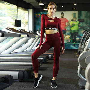 6766521e08496 Workout Clothes For Women Autumn Yoga Set Long Sleeve Yoga Suit Fitness Gym  Wear