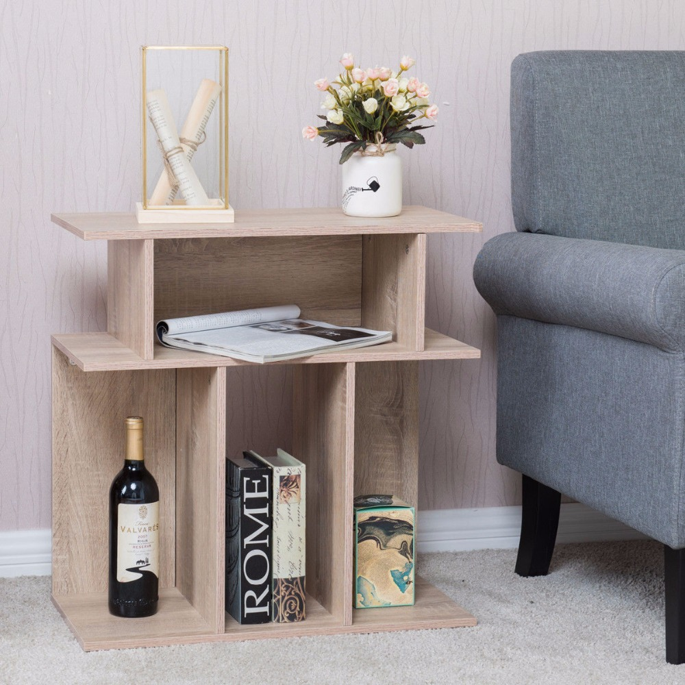 цены Giantex Modern Coffee Table Living Room End Side Sofa Table Wood Storage Desk Home Furniture With Diaplay Shelf HW56634