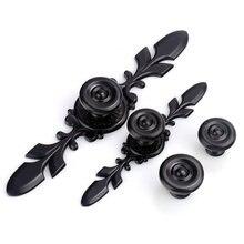 Black Drawer Knobs Pulls Handles Cabinet Handle With Back Plate Flower Cupboard Kitchen Door Dresser Decor