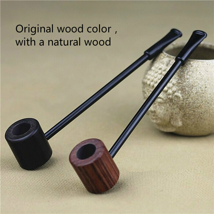 Two Pieces Grade Ebony Wood Pipe Smoking Pipes Popeye Portable Creative Smoking Pipe Herb Tobacco Pipes Gifts Grinder Smoke