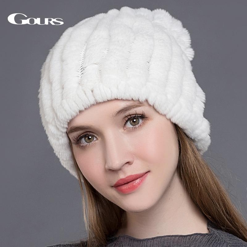 Gours Natural Rex zajčji krzneni klobuki za ženske zimsko tople modne blagovne znamke gospe damske visoko kakovostne kapice šal za dvojno uporabo nov prihod