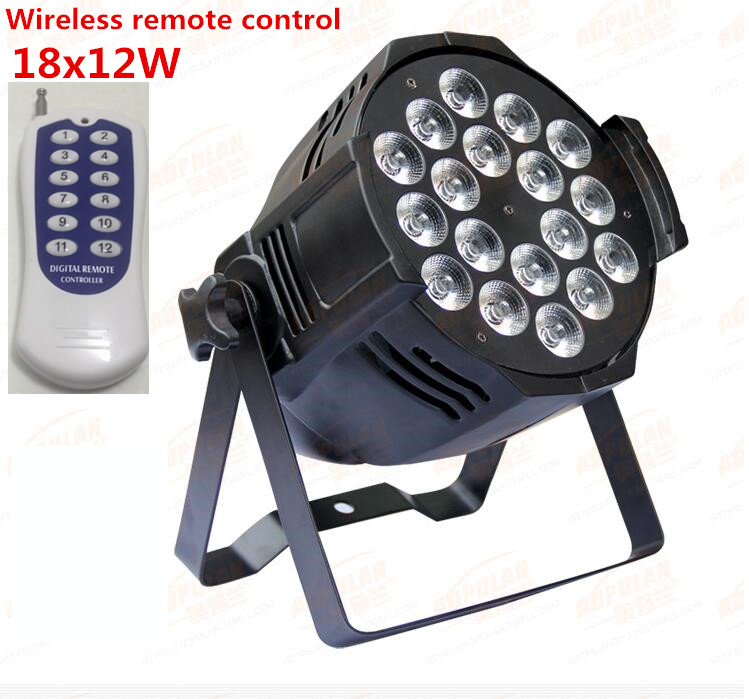 Wireless remote control 18x12W RGBW 4in1 LED Par Can Par64 led spotlight dj projector wash lighting stage light light 8pcs/lot