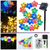 50 Leds Waterproof Outdoor Decoration Lamp Solar String Lights Flowers Blossom Garden Lawn Christmas Tree Wedding