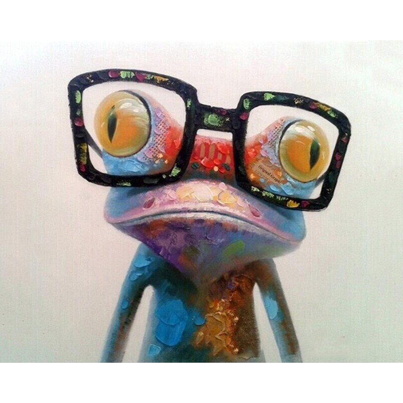 Frog With Glasses Oil Painting By Numbers DIY Digital Pictures Coloring By Number On Canvas Unique Gifts Home Decoration 40x50CM in Painting Calligraphy from Home Garden