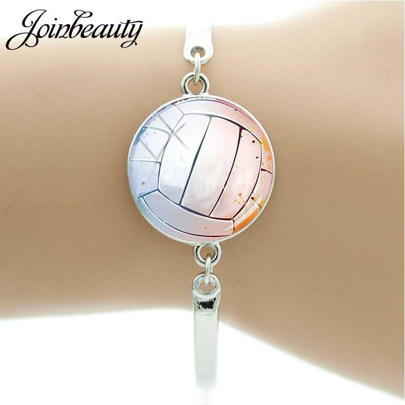 JOINBEAUTY encanto cúpula de vidrio hecha a mano pulsera con cabujón baloncesto fútbol voleibol recuerdo del Club regalos pulsera joyería SP684