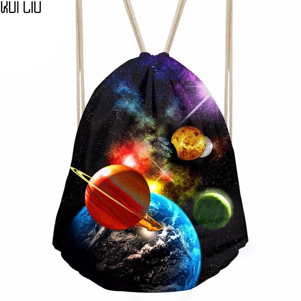 Drawstring Bag Women's Universe Printing Backpack Teenagers Fashion Bundle Pocket Girls Kids String Pouch Mochilas