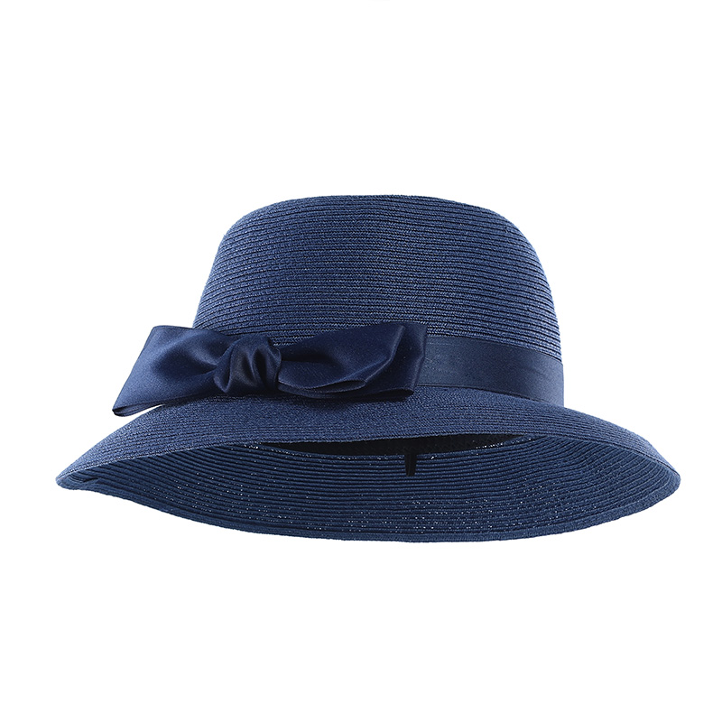 Elegant Women Fedora Hat Flat Top Hat Church Hats Black Ribbon Band Leisure Party Trendy Beach Straw Hat Chapeau Caps