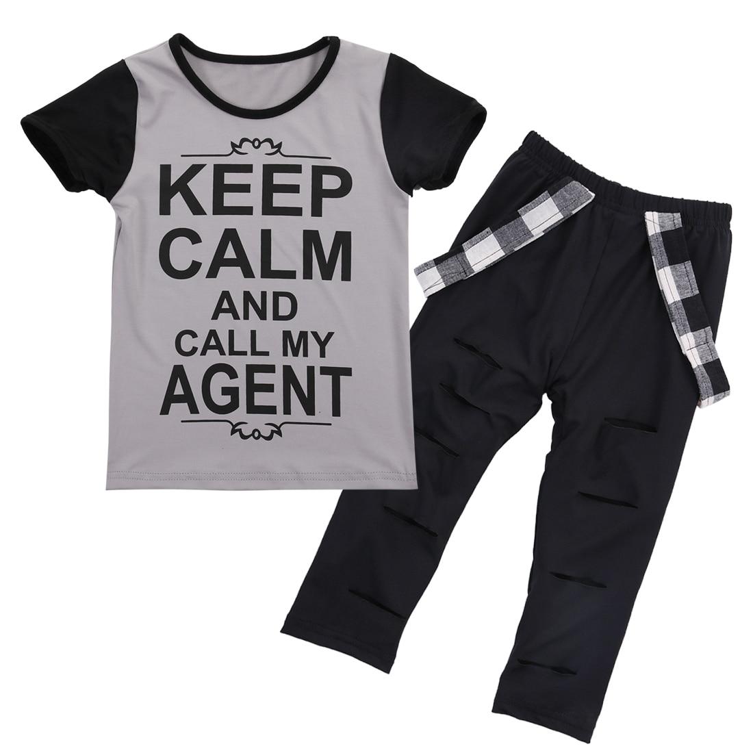 2016 Newborn Infant Kids Baby Girls Keep Calm T-shirt +Pants Outfits Clothes Set Summer Toddler Chidren Clothing