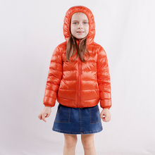 цена Kids Down Jackets Boys Girls Ultra Light Portable Duck Down Coat Children Hooded Puffer Jacket Winter Parkas Baby Outerwear онлайн в 2017 году