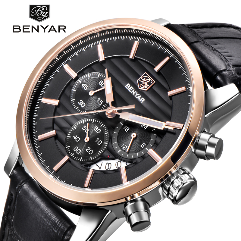 BENYAR Mens watches top brand luxury Leather Waterproof Male Clock Quartz Watch Men Sport Fashion Wristwatch Relogio Masculino oulm mens designer watches luxury watch male quartz watch 3 small dials leather strap wristwatch relogio masculino