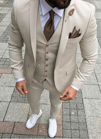 2019 Custom Made Slim Fit Smoking Formal Tuxedo Beige 3 Pieces Wedding Clothing For Men Groomsman Clothes