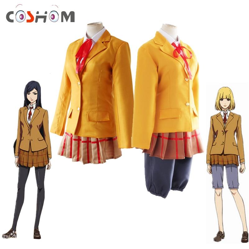 Coshome Prison School Cosplay Suits Costumes Kurihara Mari Midorikawa Hana School Uniforms Brown Jacket Coat Top Shorts Set