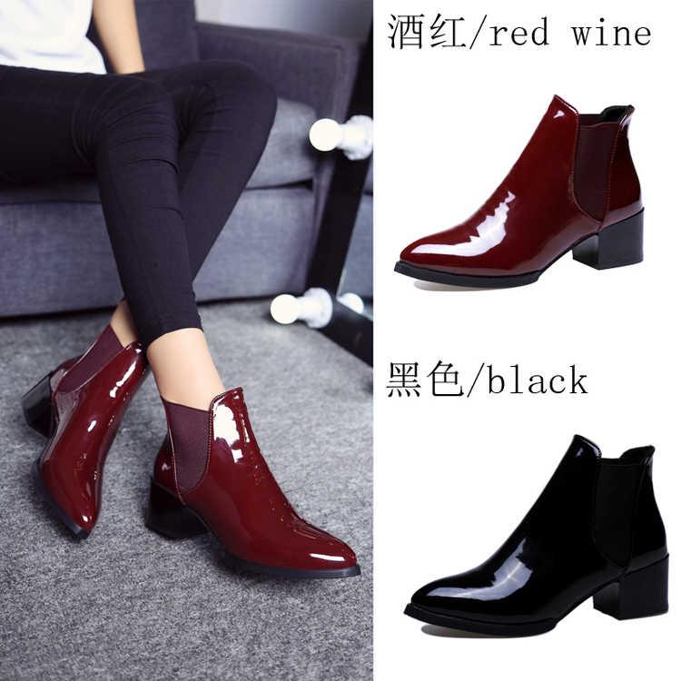 SLYXSH nuevas botas de mujer PU zapatos planos botas de tobillo botas de motocicleta para mujer otoño zapatos de mujer botas de cuero de invierno