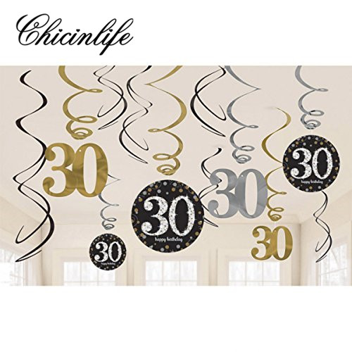 Chicinlife 6Pc/set 30th/40th/50th Adult Birthday Hanging Swirls Kit Foil Whirls Banner years old Birthday Party Decorations