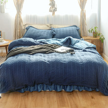 Handwork Knitted Durable Duvet cove set Blue Reversible Ultra Warm Soft Bedding set Queen King size with Bed sheet Pillowcase(China)