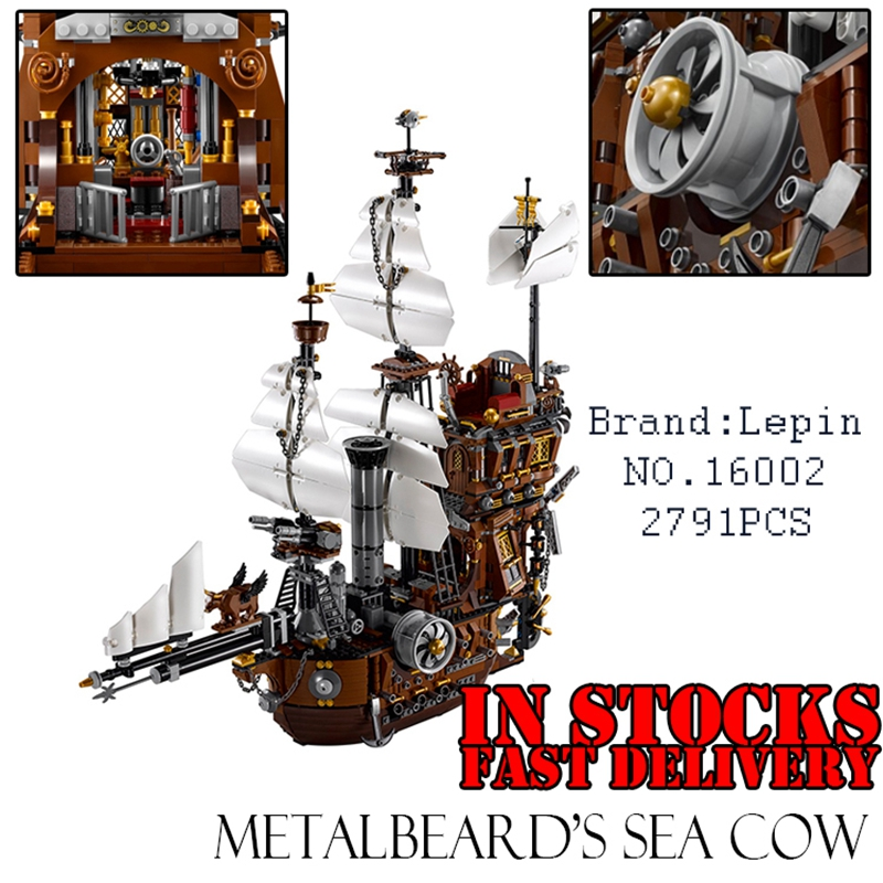 2016 LEPIN 16002 Pirate Ship 2791pcs Metal Beard's Sea Cow Model Building Kits figures Blocks Bricks Compatible 70810 pirate ship metal beard s sea cow model lepin 16002 2791pcs building blocks kids bricks toys for children boys gift compatible