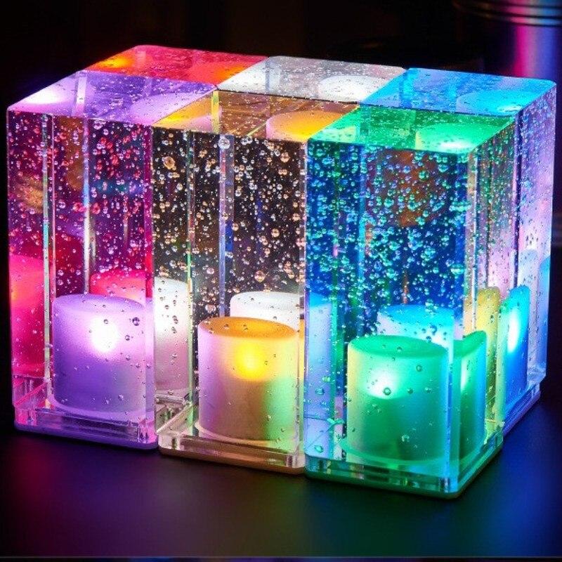 ФОТО 2017 new romantic crystal night light creative rechargeable LED lamp KTV light bar square crystal desk lamp table lamp