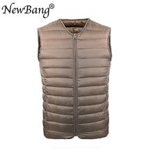 NewBang Men #8217 s Down Vest Ultra Light Down Vest Men Portable V-neck Zipper Sleeveless Coat Man Without Collar Warm Liner cheap REGULAR NYLON Polyester 100g White duck down STANDARD 20180422MJ01 16 100g~200g NONE Solid Woven Casual S M L XL XXL XXXL