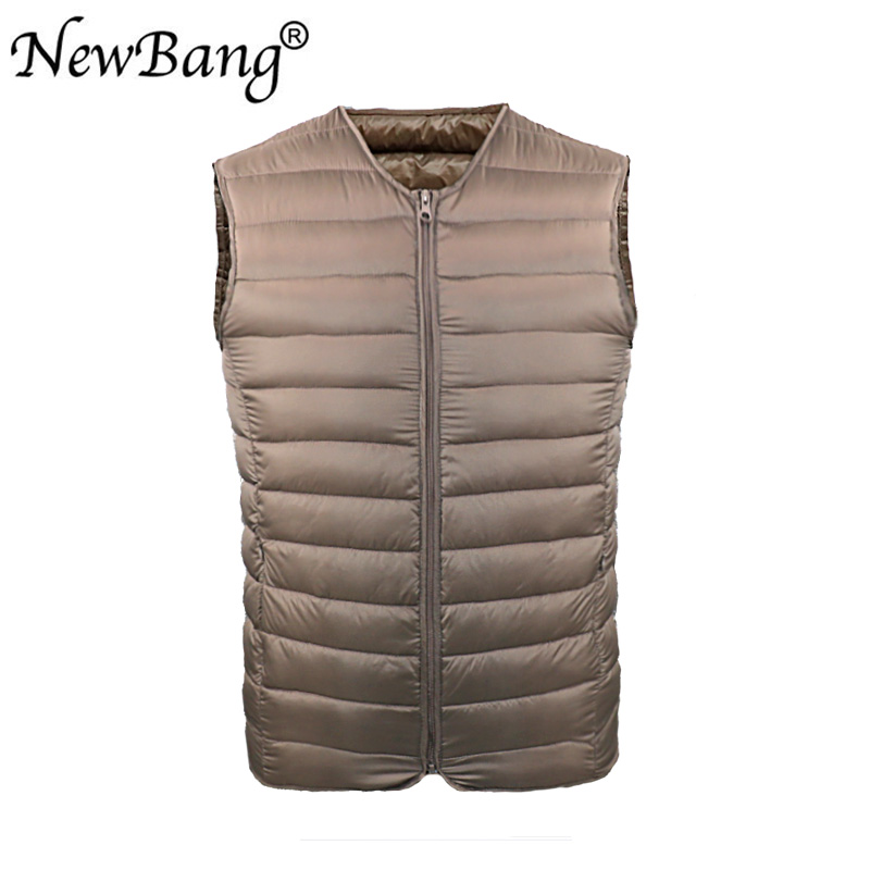 NewBang Men's   Down   Vest Ultra Light   Down   Vest Men Portable V-neck Zipper Sleeveless   Coat   Man Without Collar Warm Liner