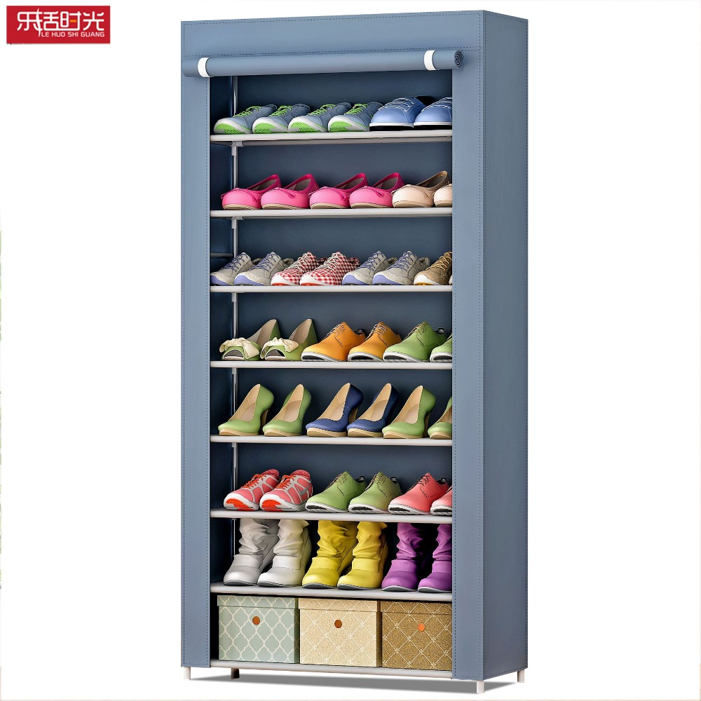 Simple Shoe Cabinet Assembly Non-woven Stainless Steel Large Shoe Organizer removable Shoes Storage Rack for home furniture
