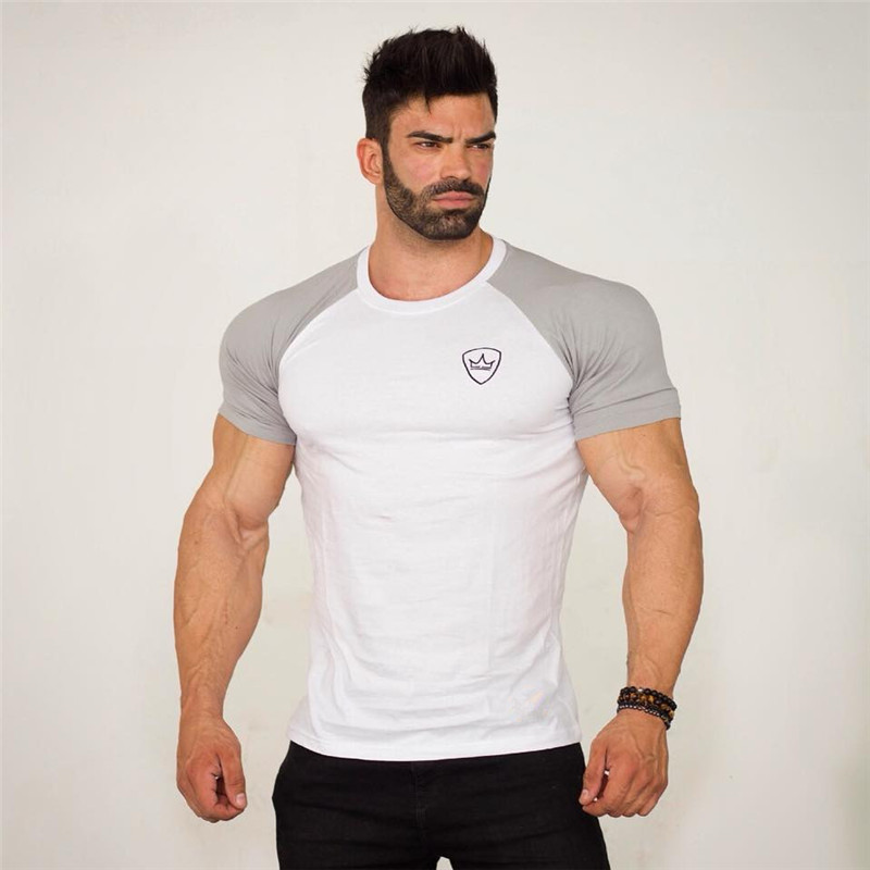 2018 New Summer Mens Gyms Casual   T     shirt   Fitness Bodybuilding Print Tight Fashion Male Short Cotton clothing Tee Tops 5 Color