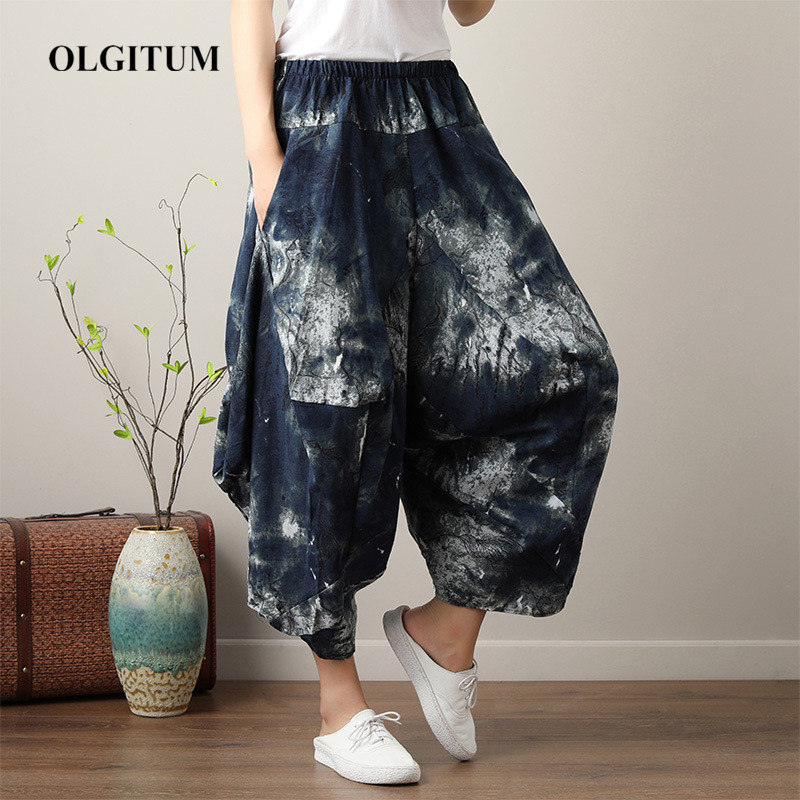 Summer Harem   Pants   Casual Loose Beach Women   Pants   Seven-point   wide  -  leg     pants   Boho Cotton linen Comfy   Pants   Mandala One Size 2019