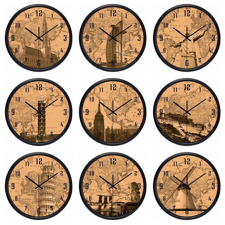 US $24.2 45% OFF|The World Time Zone Clock Brand Hotel Lobby Clock World  Places of Interest Kraft paper color Map Clock-in Wall Clocks from Home &  ...