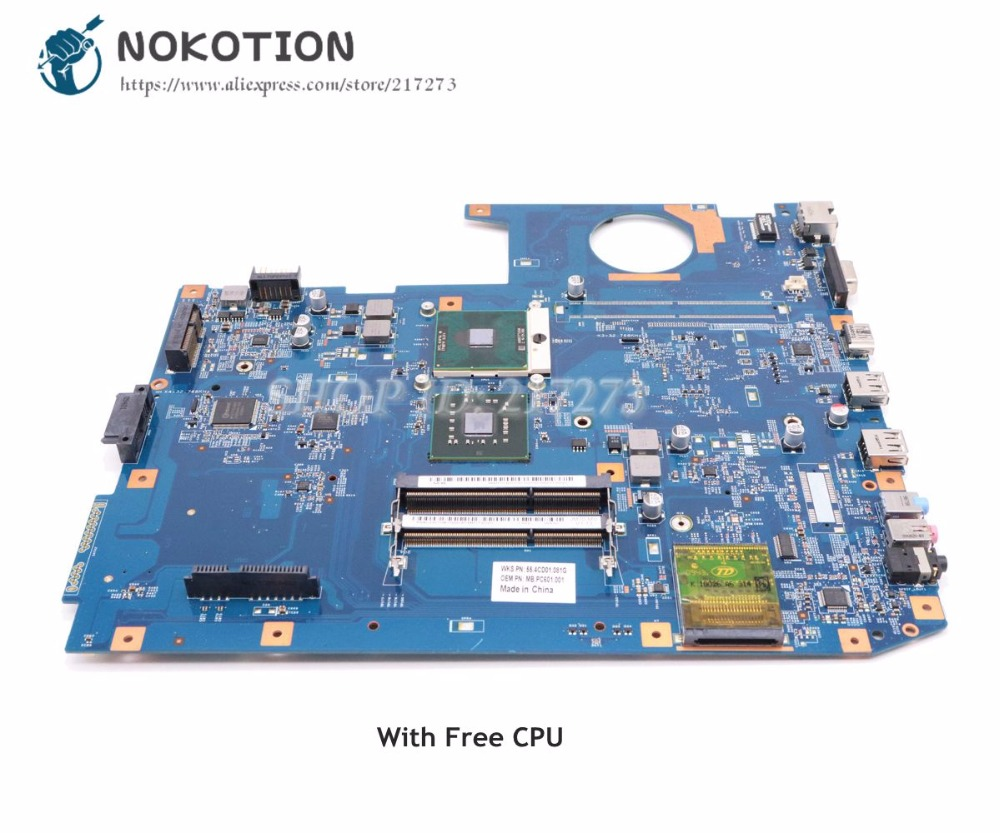 все цены на NOKOTION MBPC601001 48.4CD01.021 For Acer aspire 7535 7735 7738 Laptop Motherboard without graphics slot DDR3 Free CPU онлайн