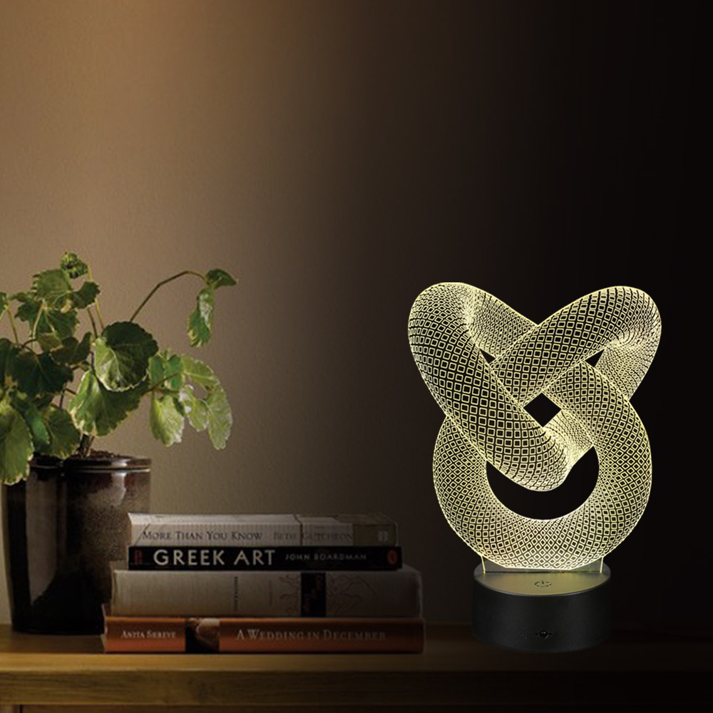Led battery operated table lamps - 3d Optical Illusion Led Table Night Light Usb Cable Battery Operated Desk Lamp Valentine S Day Halloween Decorations Annular