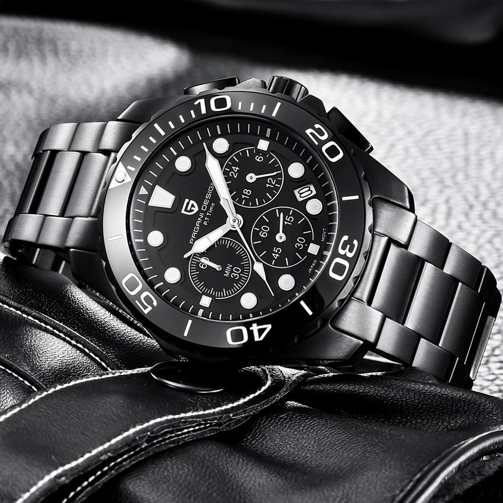 PAGANI Design Brand Black Stainless Steel Band Luxury Watch Men Quartz Business Male Military Wristwatch Mens reloj hombre 2018