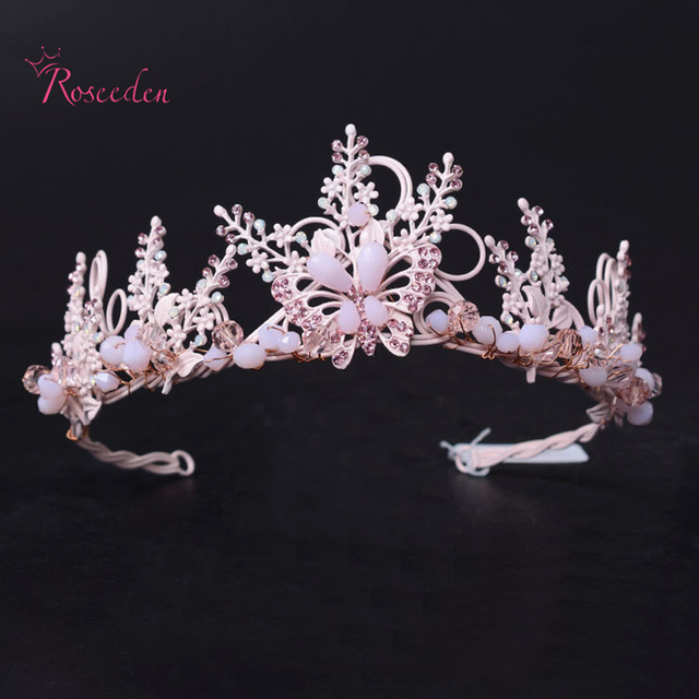 Корея стиль Свадебные Аксессуары Для Волос Розовый Rinstone Люкс Тиара Золото Листьев Корона Тиара Волос Ювелирные Изделия Невесты Корона RE650