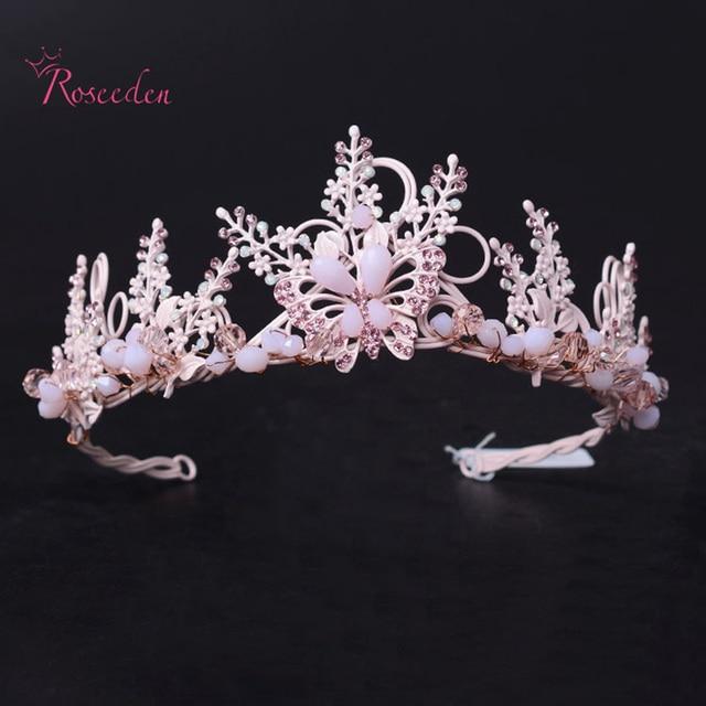 Korea style Wedding Hair Accessories  Pink Rinstone Bridal Tiara Gold Leaf Crown Tiara Hair Jewelry Bride Crown RE650