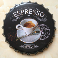 ESPRESSO Large Beer Cover Tin Sign Logo Plaque Vintage Metal Painting Wall Sticker Iron Sign Bar KTV Store Decorative 40X40 CM