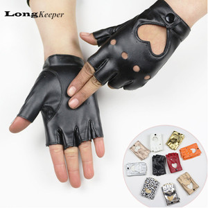 LongKeeper Female Dance Gloves semi-finger Gloves Party Show leather Gloves fingerless Mittens for Women Guantes Ciclismo G080