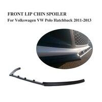 FRP Unpainted Preto Avental Front Bumper Lip Spoiler para Volkswagen VW POLO 2011 2013|lip spoiler|for vw|front lip spoiler -