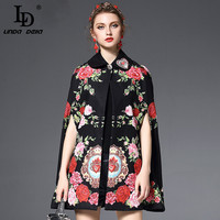 High Quality Winter Cape Poncho Coat Women Outerwear Coats Vintage Floral Embroidery Wool Cloak Overcoat
